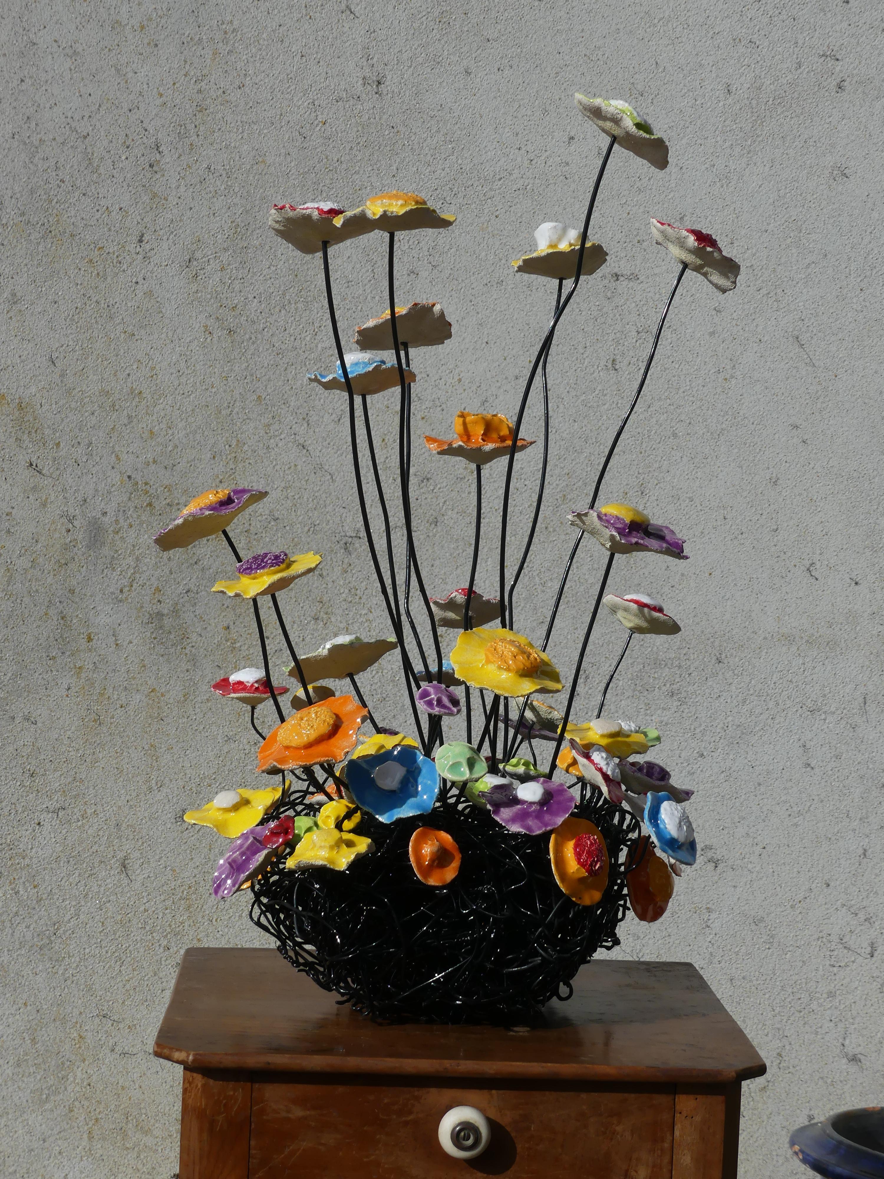 """nid multicolore grandes fleurs"""