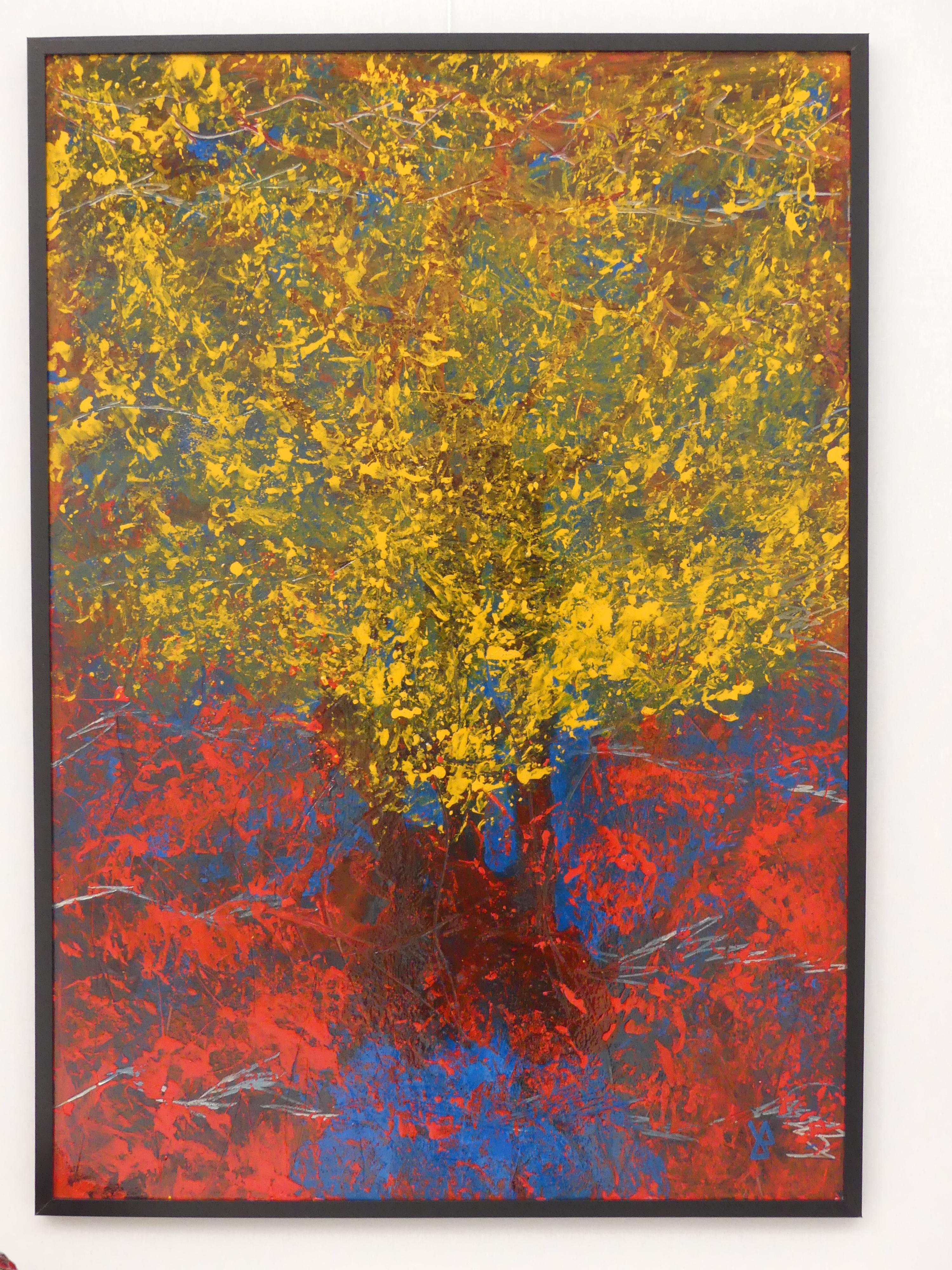 """""""le grand arbre jaune""""  peinture sur tôle d'acier  70x100"""